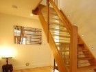 Plank oak steps - contemporary oak/glass/ bannisters